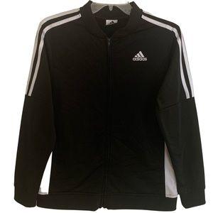 Adidas Black Track Jacket With White Stripes